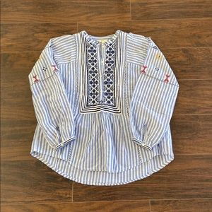 Joie embroidered striped shirt sz xs